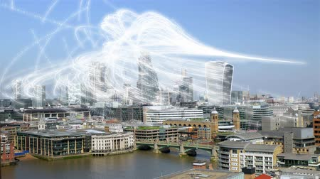 Streams of binary data over Londons financial district.