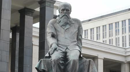 prominent : Dostoevsky Statue at Lenin Library, Moscow, Russia