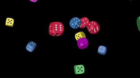 pontilhado : Rainbow Color Dice Falling Stock Footage