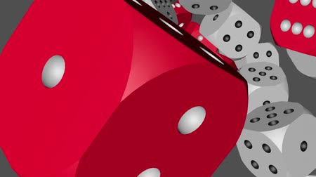 Red and White Color Dice Collided Stock Footage
