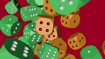 Green and Orange Color Dice Collided Stock Footage