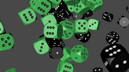 Green and Black Color Dice Collided