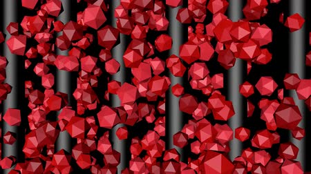 bumps : Red Polygons Lifting Along Gray Rods Stock Footage