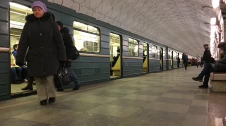 Subway Train Arrival and Departure Stock Footage