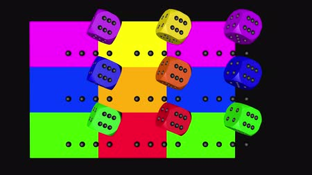 dobbelsteen : Rainbow Color Dice Loop Moving, 3D-weergave 4K