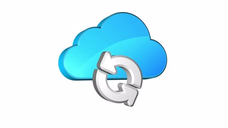 imagem : Icon of synchronization of data on cloud storage. Seamless looping. Luma matte included. Vídeos