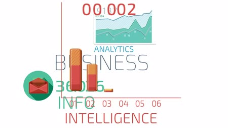 Flat Animated Icons Business Infographics. Icons, Words and Numbers Vídeos