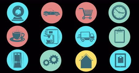 dolgok : Internet Of Things and Smart Home Concept. Flat Style Animated Icons Stock mozgókép