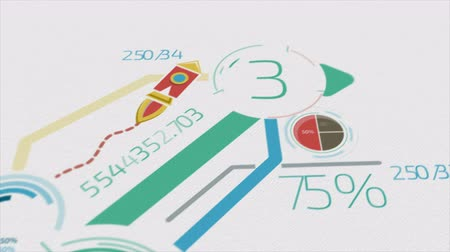 elements : Business Background With Elements Of Infographics 4K Stock Footage