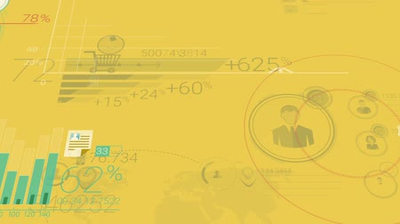 Yellow Corporate Background With Abstract Elements Of Infographics