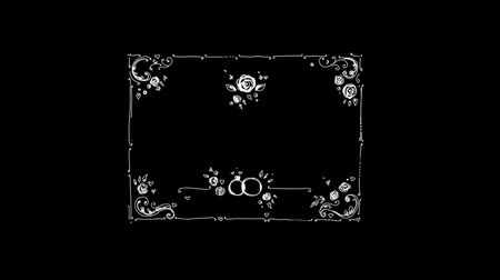 ozdobnik : Hand-made Floral Frame On Alpha Channel Wideo