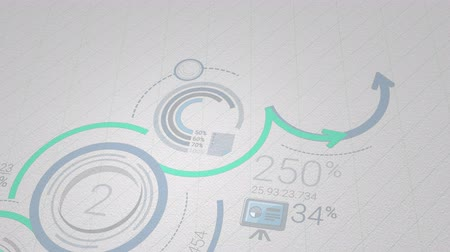 infografik : Infographic background in blue-green colors. 4K Stok Video