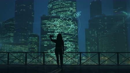 selfie girl : Girl does selfie on a background of skyscrapers and social media infographics Stock Footage