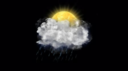hail : Sun Rain, Weather Forecast Icon with Alpha Channel Stock Footage