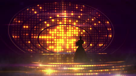 подиум : Female silhouette on stage against the festive illumination