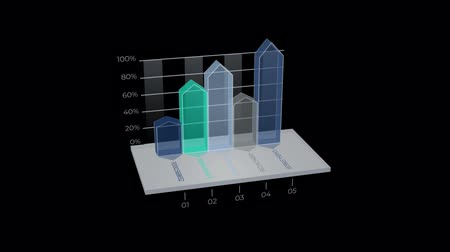 overleggen : 3D Infographic Element met Alpha Channel Stockvideo
