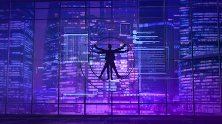 кодирование : Vitruvian man on the background of neon lights of the city