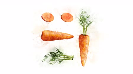illustration and painting : Animation drawing Carrots Stock Footage