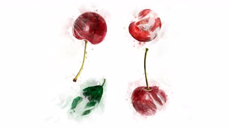 kompot : Watercolor drawing of a Cherry in motion Wideo