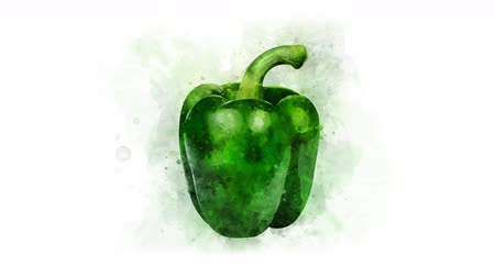 акварель : Green bell pepper set for video editing Стоковые видеозаписи