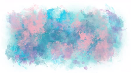 интенсивность : Gentle pink blue watercolor stain Стоковые видеозаписи