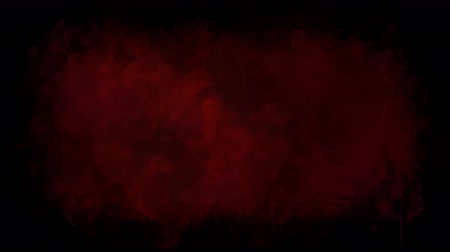 smudged : Blood red blot on a transparent background Stock Footage