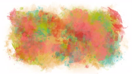 smudged : Smears of multicolored watercolor Stock Footage