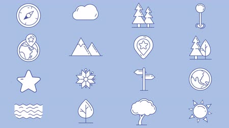 штифт : Set of map icons, natural objects Стоковые видеозаписи