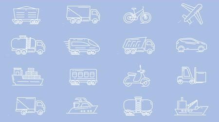 letadlo : Line icons of different vehicles