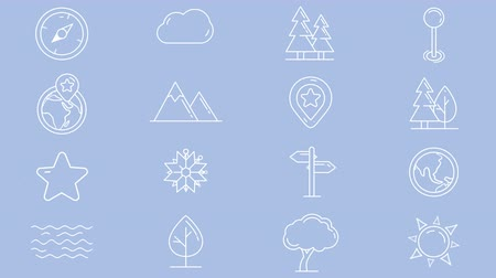 штифт : Set of line icons of natural objects Стоковые видеозаписи