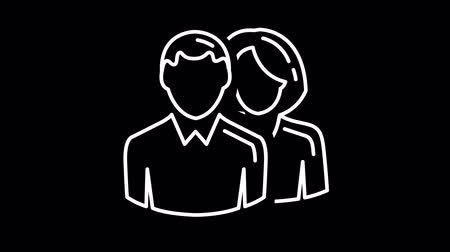 ilustracje : Man and woman line icon on the Alpha Channel Wideo