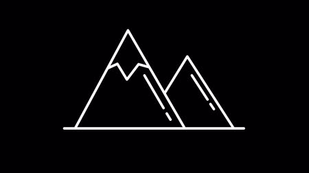 вершина : Mountains line icon on the Alpha Channel