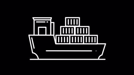 pino : Big ship line icon on the Alpha Channel Stock Footage