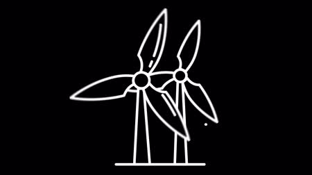 térképészet : Windmills line icon on the Alpha Channel