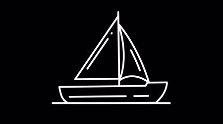 fleet : Yacht line icon on the Alpha Channel