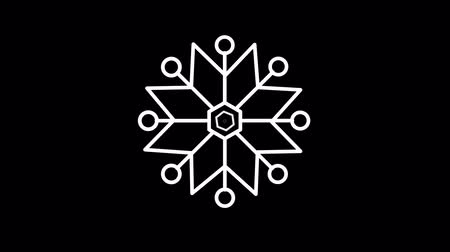 hail : Snowflake weather forecast line icon on the Alpha Channel Stock Footage
