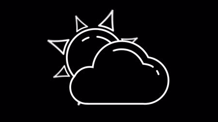 meteoroloji : Day Cloud weather forecast line icon on the Alpha Channel