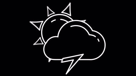 yayın : Day Cloud and Lightning weather forecast line icon on the Alpha Channel Stok Video
