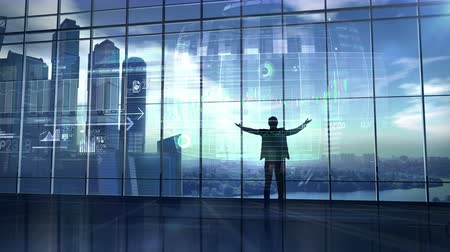 data mining : The trader is pleased with success and stock exchange infographics Stock Footage