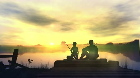 Father with son in the morning fishing