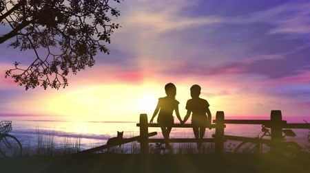 A boy and a girl hold hands against pink sunset