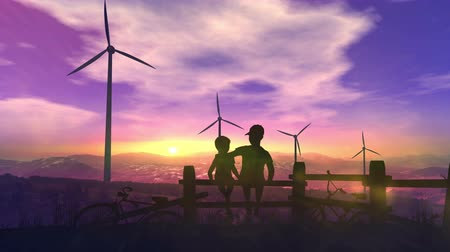 Children watch wind power plants Стоковые видеозаписи