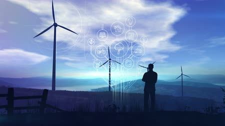 Environmental infographics on the background of wind turbines. Vídeos
