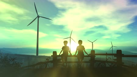Children watching wind power plants and infographics