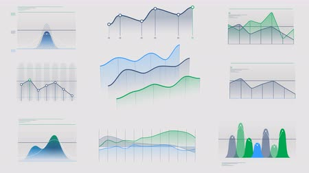 reporting : Animated infographics without data on alpha channel Stock Footage