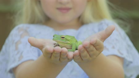 žába : Pre teen caucasian girl holding a white lipped tree frog in her hands  in the garden