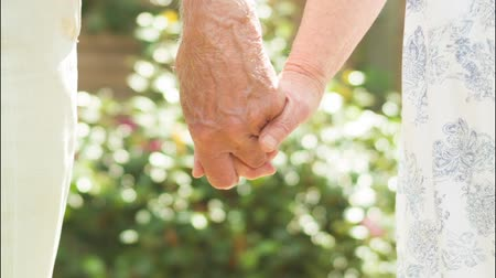 信頼性 : Low angle view of an affectionate Senior Caucasian couple holding hands in their garden 動画素材