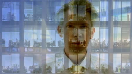 drudgery : Composite - Realtime reflection of a businessman looking at time-lapse of a modern office block at night Stock Footage