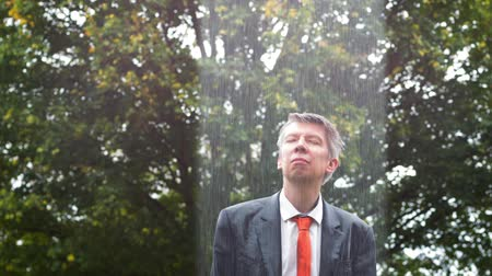 konuları : Localised rain shower over a drenched caucasian businessman caught out in the rain without an umbrella
