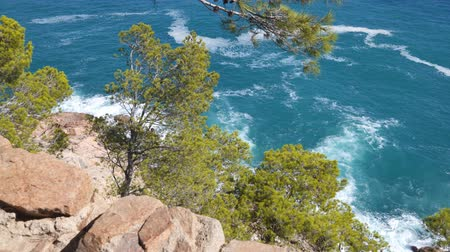 espana : Picturesque panorama of the rocky coast Tossa de Mar in sunny day. Costa Brava, Catalonia, Spain Stock Footage